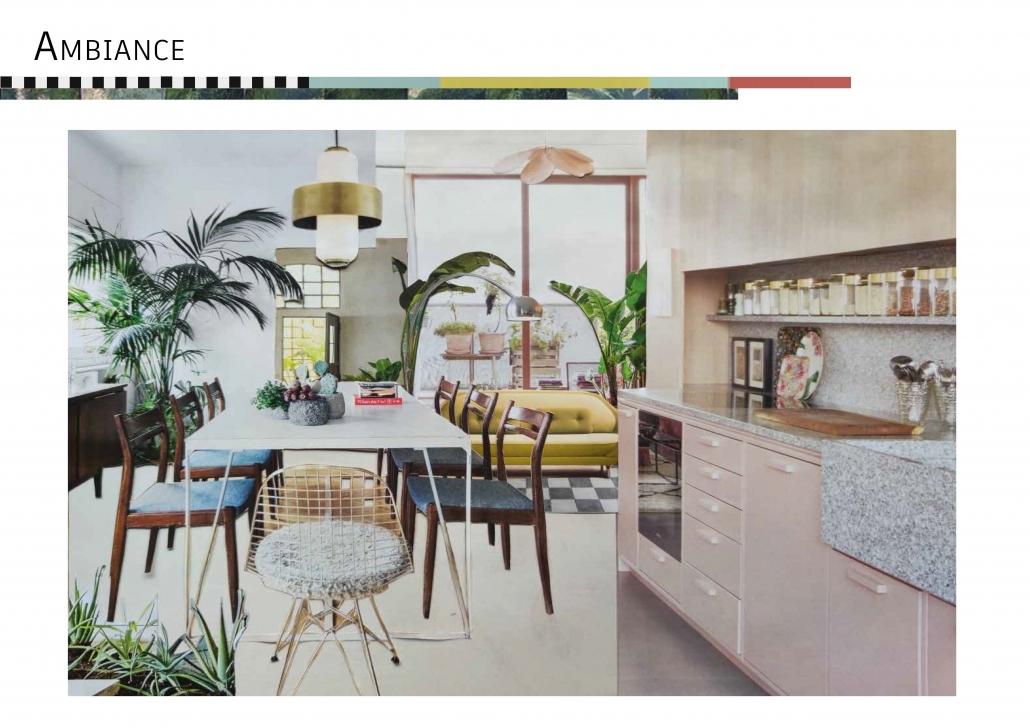 décoration architecture d'intérieur atelier rénovation rose vert bleu jaune planche ambiance harmonie multicolore prestation avant-projet sommaire
