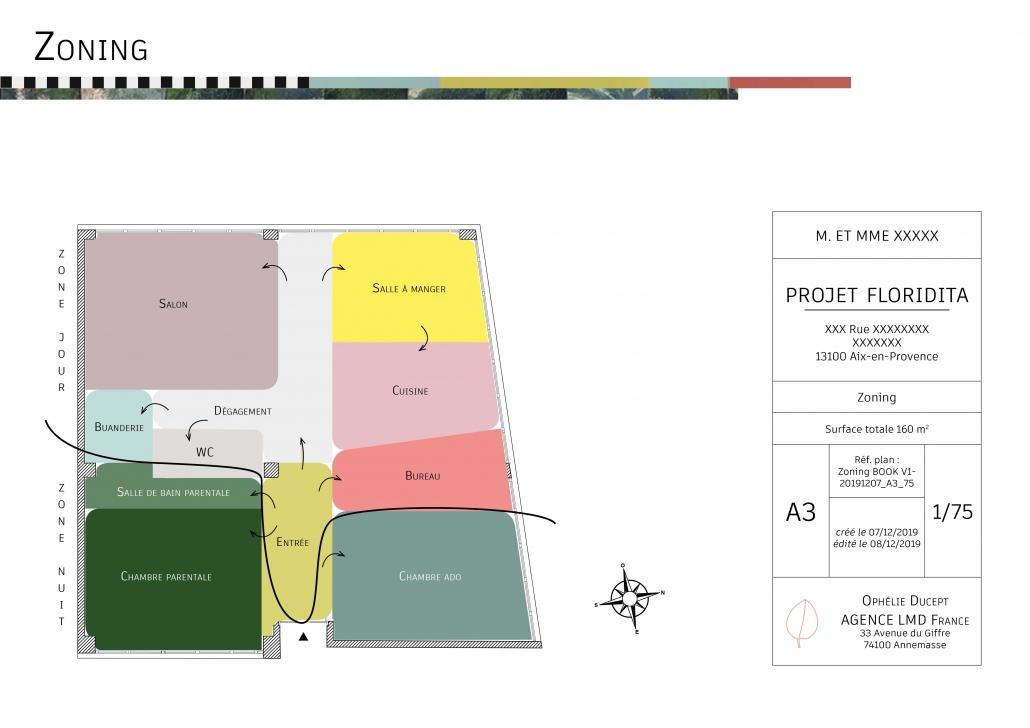 étude agencement zoning zone jour zone nuit avant-projet sommaire plan 2D architecture d'intérieur