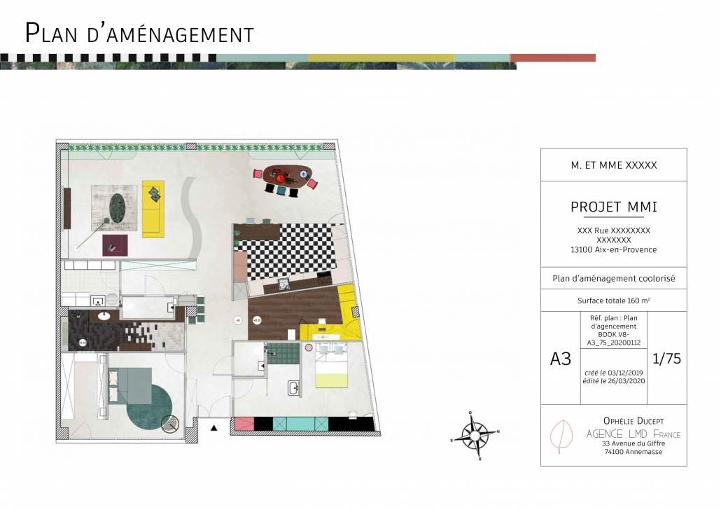 plan aménagement étude avant-projet sommaire plan 2D architecture d'intérieur nouvelles cloisons cloisonnement optimisation espace agencement prestation architecture d'intérieur travaux matériaux couleurs mobilier
