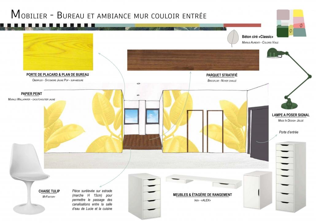 planche ambiance recherche couleurs matériaux revêtements rénovation architecture d'intérieur décoration jaune jungle projet travaux mobilier