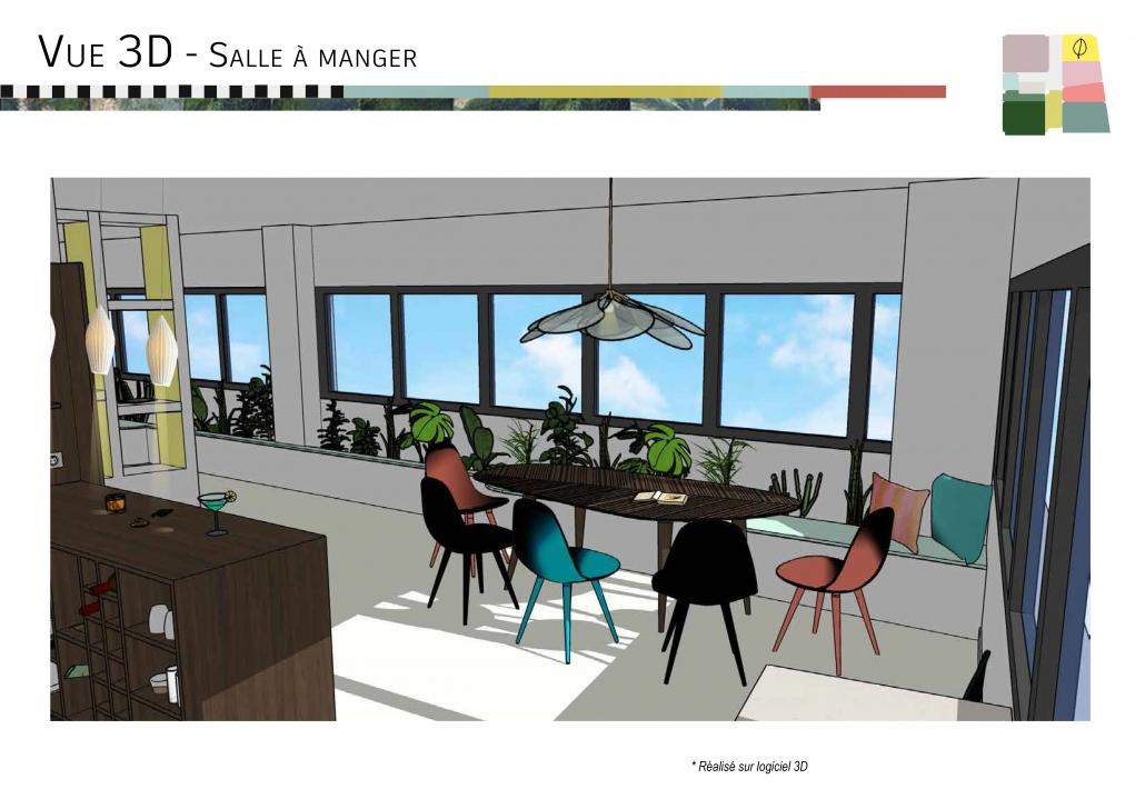 vue 3D rénovation travaux se projeter architecture d'intérieur agencement aménagement décoration d'intérieur bibliothèque cuisine salle à manger jardinière rétro vintage années 50 mid-cenxury style harmonie de couleurs