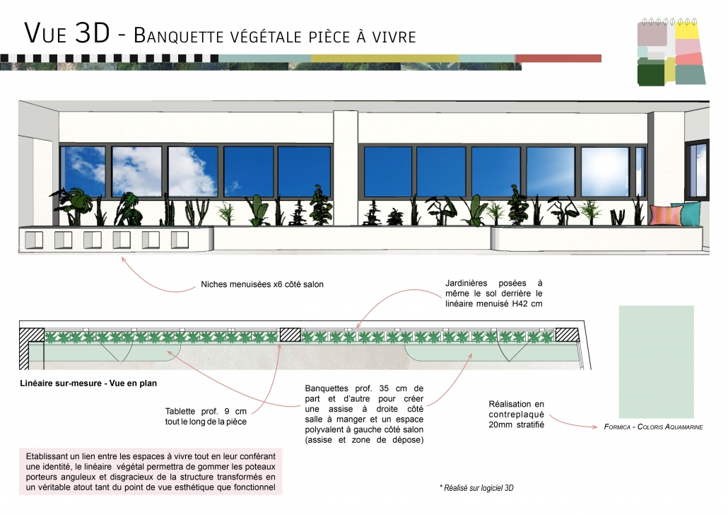 conception mobilier sur-mesure vue 3D aspects techniques banquette végétal décoration