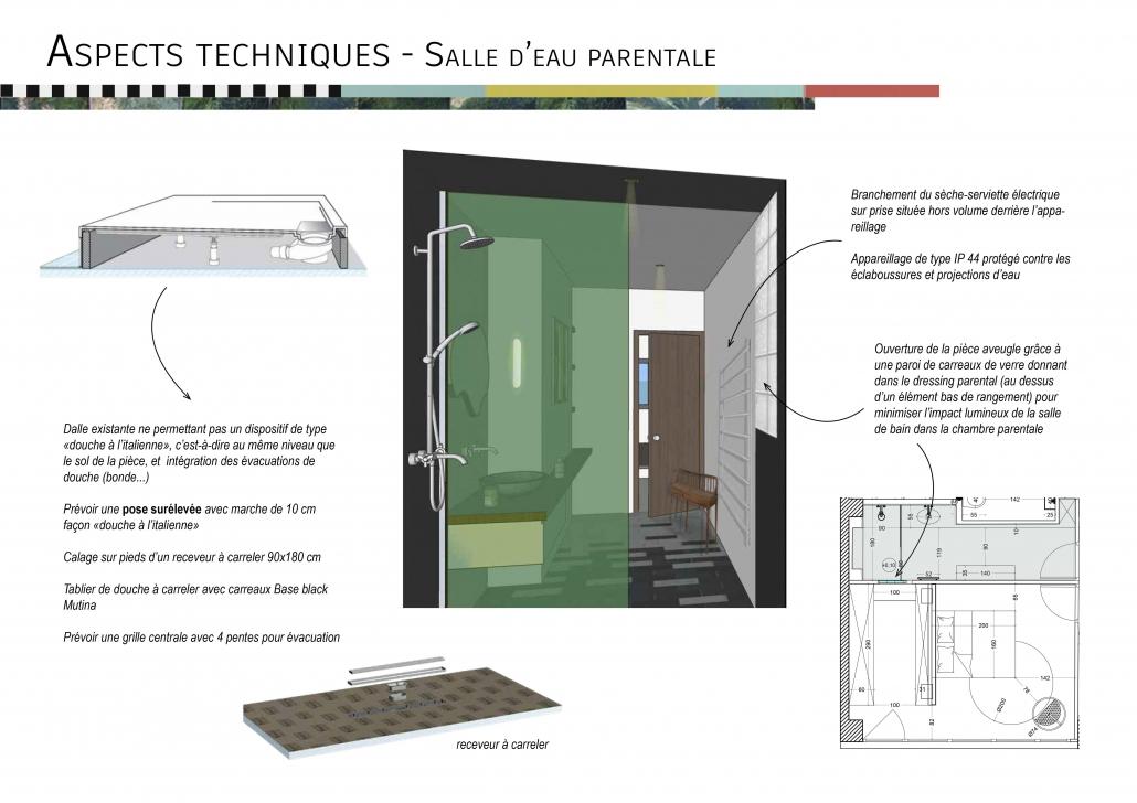 douche italienne receveur architecture intérieur projet rénovation description aspects techniques salle de bain salle d'eau bac à douche