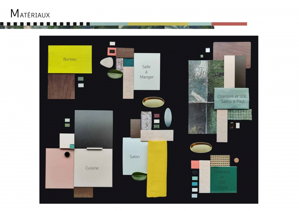recherche de matériaux bois céramique revêtements conseil couleurs association cohérence visuelle sculpter volumes espace lumière