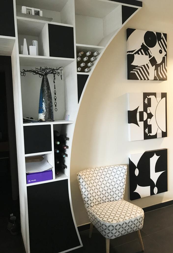 bibliothèque architecture d'intérieur conception mobilier sur-mesure ouvert fermé