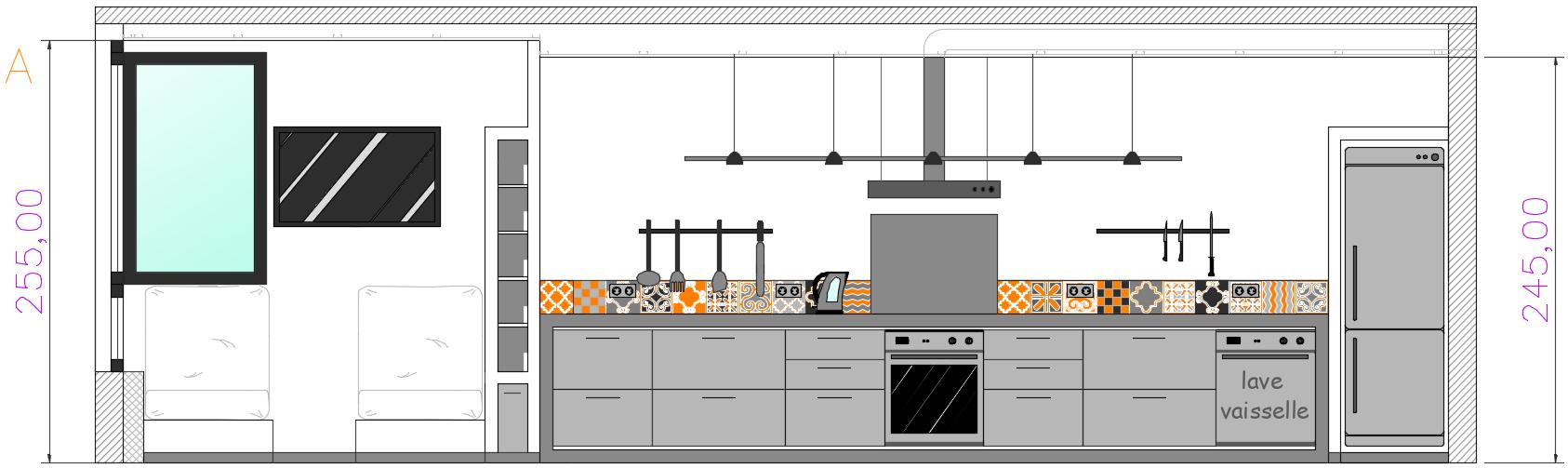 élévation coupe après travaux cuisine sur-mesure conception mobilier menuiserie carreaux de ciment rénovation architecture d'intérieur