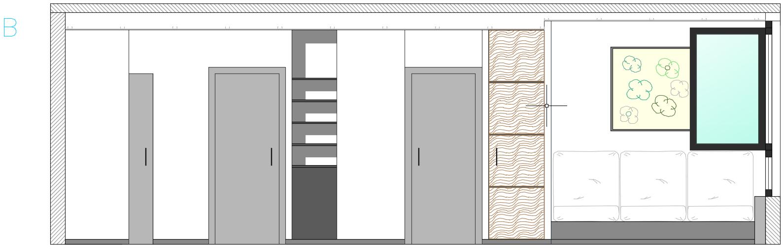 plan coupe élévation architecture d'intérieur rénovation mobilier sur-mesure porte toute hauteur salon