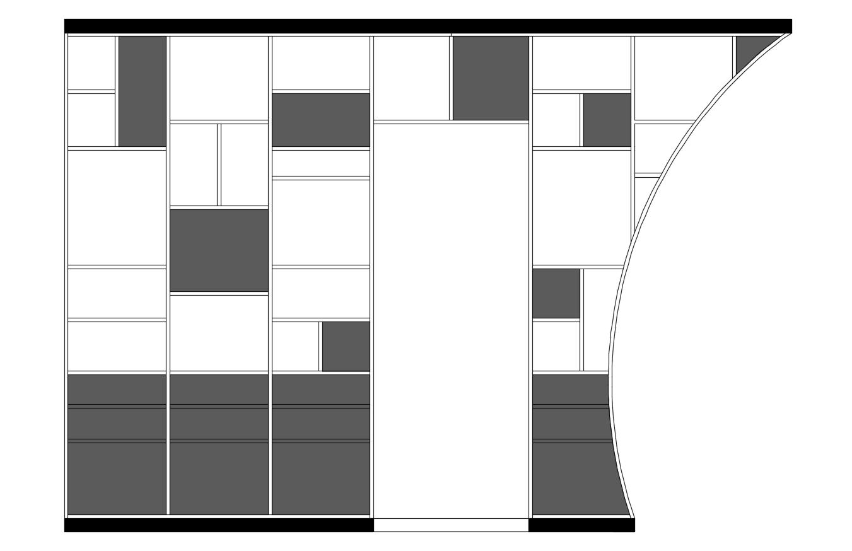 bibliothèque conception de mobilier sur-mesure menuisier architecture d'intérieur décoration étagères portes claustra