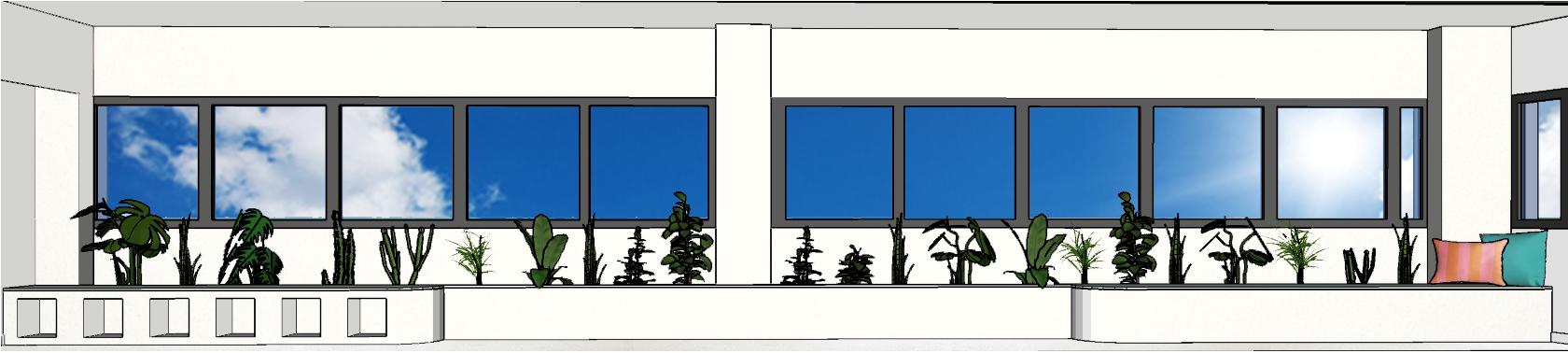 linéaire végétal jardin intérieur agencement architecture d'intérieur rénovation travaux décoration pièce à vivre urban jungle